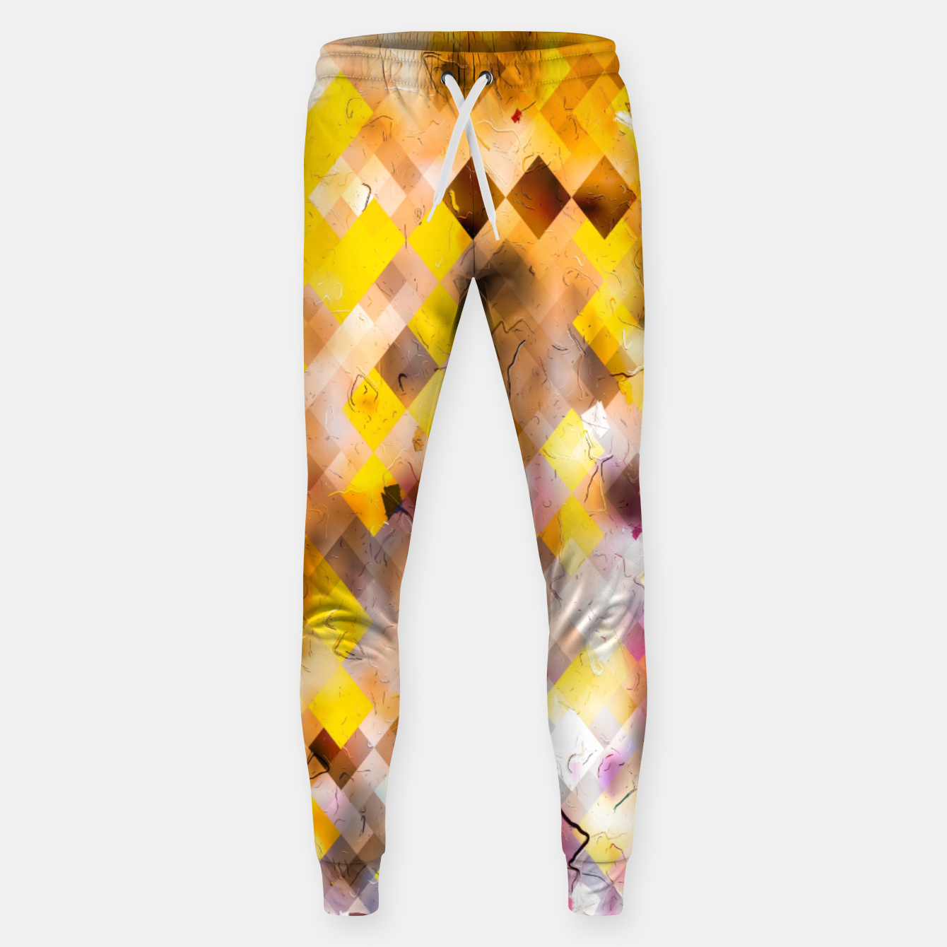 Image of geometric square pixel pattern abstract in yellow brown pink Sweatpants - Live Heroes