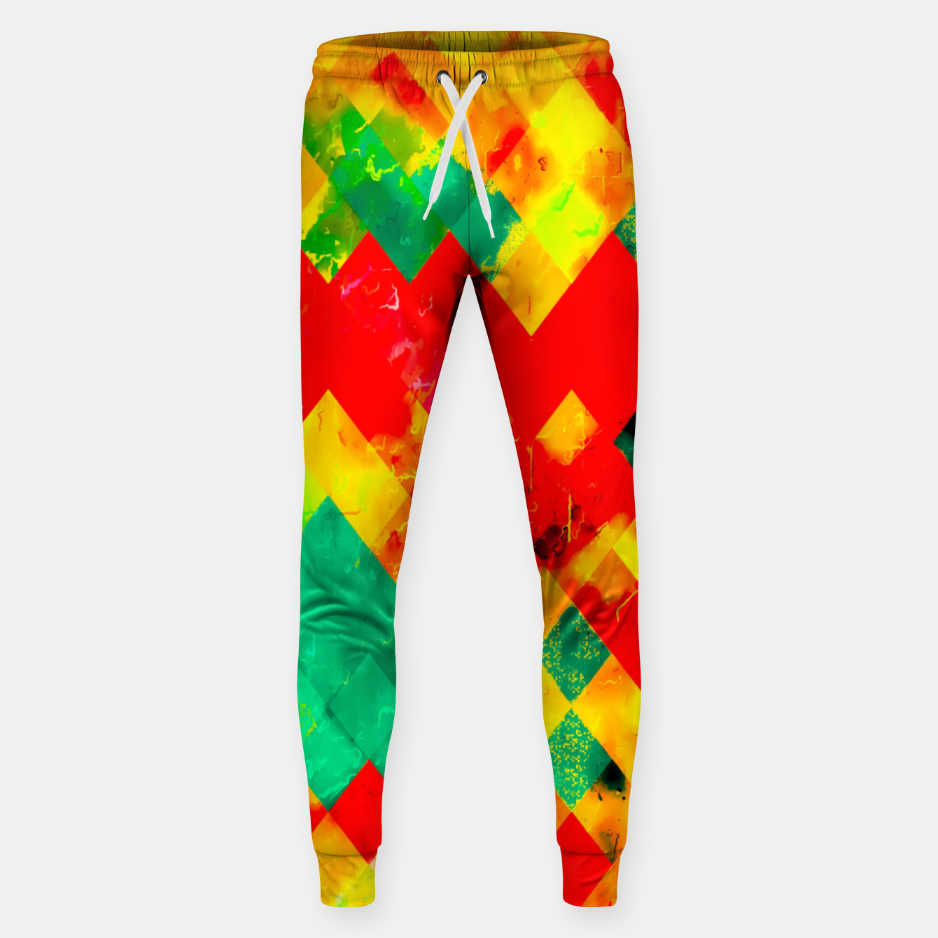 Image of geometric square pixel pattern abstract in red yellow green Sweatpants - Live Heroes