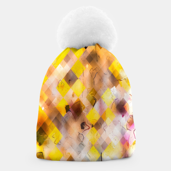geometric square pixel pattern abstract in yellow brown pink Beanie thumbnail image