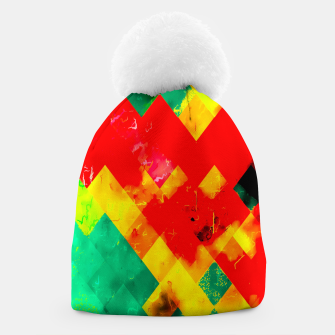 geometric square pixel pattern abstract in red yellow green Beanie thumbnail image