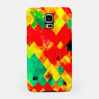 geometric square pixel pattern abstract in red yellow green Samsung Case thumbnail image