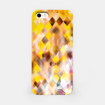 geometric square pixel pattern abstract in yellow brown pink iPhone Case thumbnail image