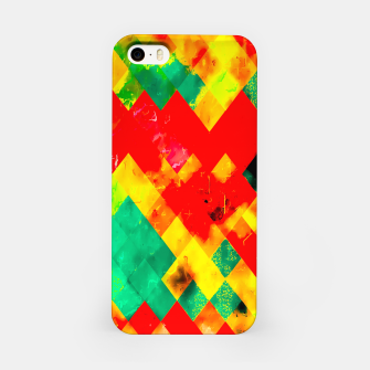 geometric square pixel pattern abstract in red yellow green iPhone Case thumbnail image