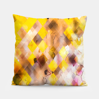 geometric square pixel pattern abstract in yellow brown pink Pillow thumbnail image