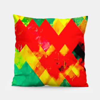 geometric square pixel pattern abstract in red yellow green Pillow thumbnail image