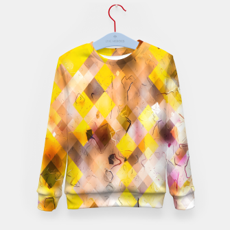geometric square pixel pattern abstract in yellow brown pink Kid's sweater thumbnail image