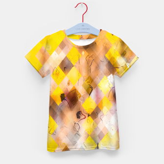 geometric square pixel pattern abstract in yellow brown pink Kid's t-shirt thumbnail image