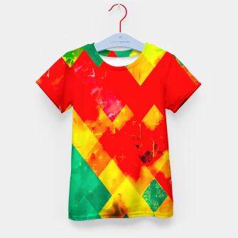 geometric square pixel pattern abstract in red yellow green Kid's t-shirt thumbnail image