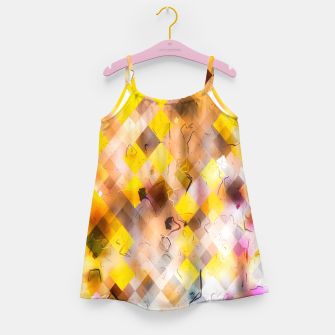 geometric square pixel pattern abstract in yellow brown pink Girl's dress thumbnail image