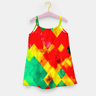 geometric square pixel pattern abstract in red yellow green Girl's dress thumbnail image