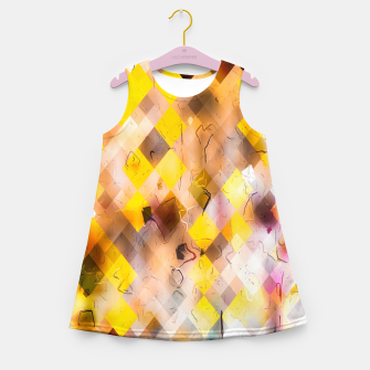 geometric square pixel pattern abstract in yellow brown pink Girl's summer dress thumbnail image