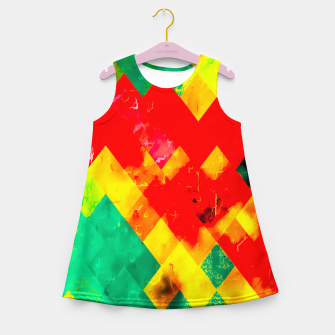 geometric square pixel pattern abstract in red yellow green Girl's summer dress thumbnail image