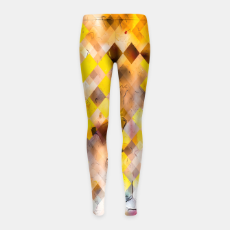 geometric square pixel pattern abstract in yellow brown pink Girl's leggings thumbnail image