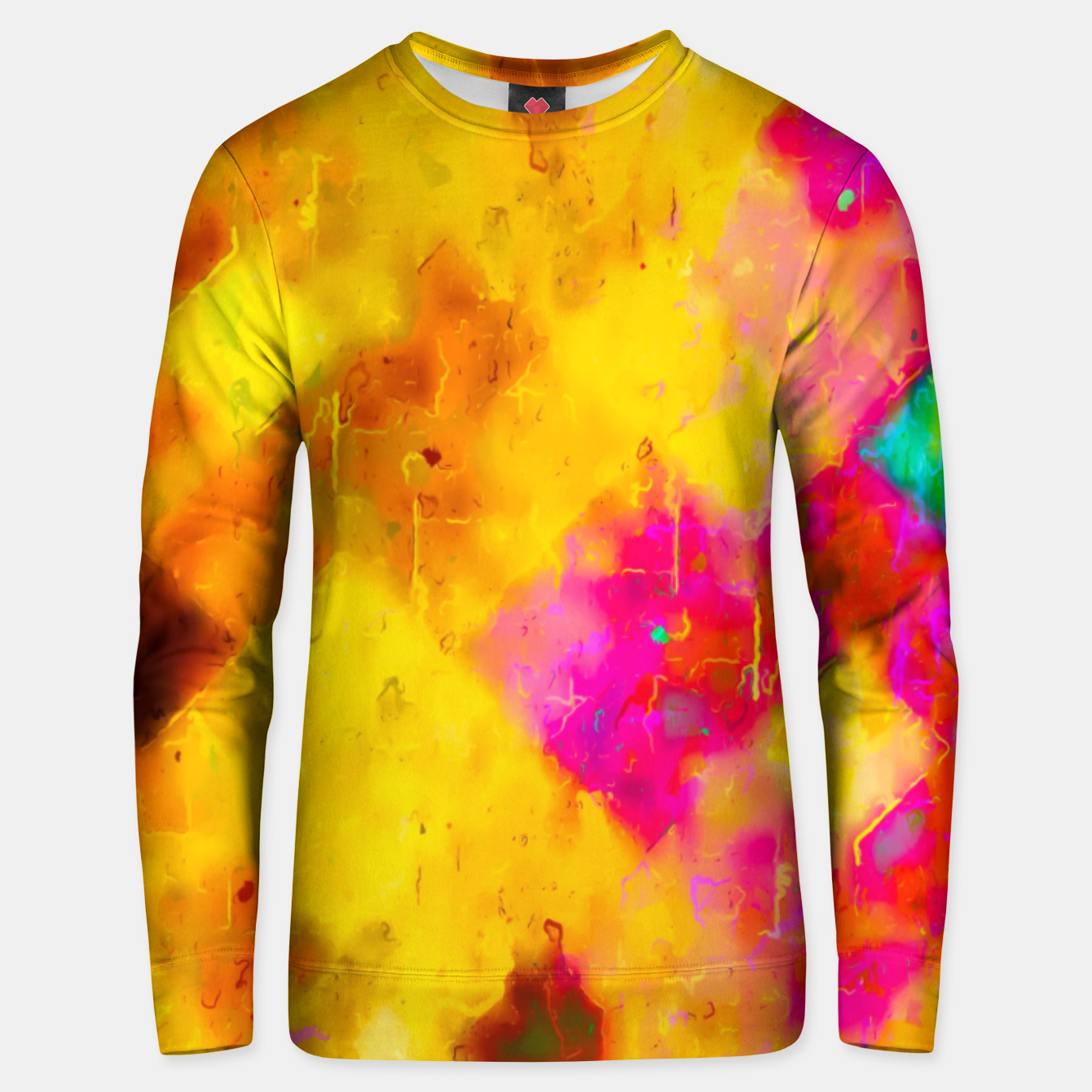 Image of geometric pixel pattern painting abstract in brown yellow pink green Unisex sweater - Live Heroes