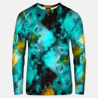 Thumbnail image of geometric pixel pattern painting abstract in blue and yellow Unisex sweater, Live Heroes