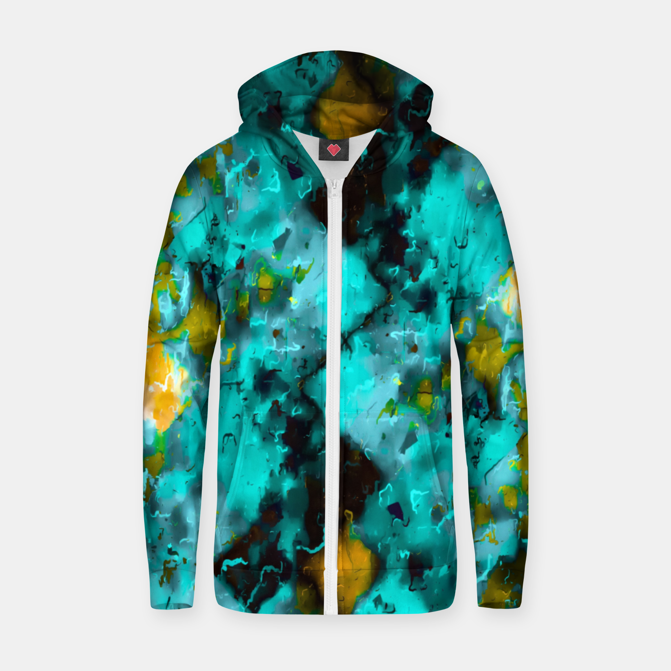 Image of geometric pixel pattern painting abstract in blue and yellow Zip up hoodie - Live Heroes