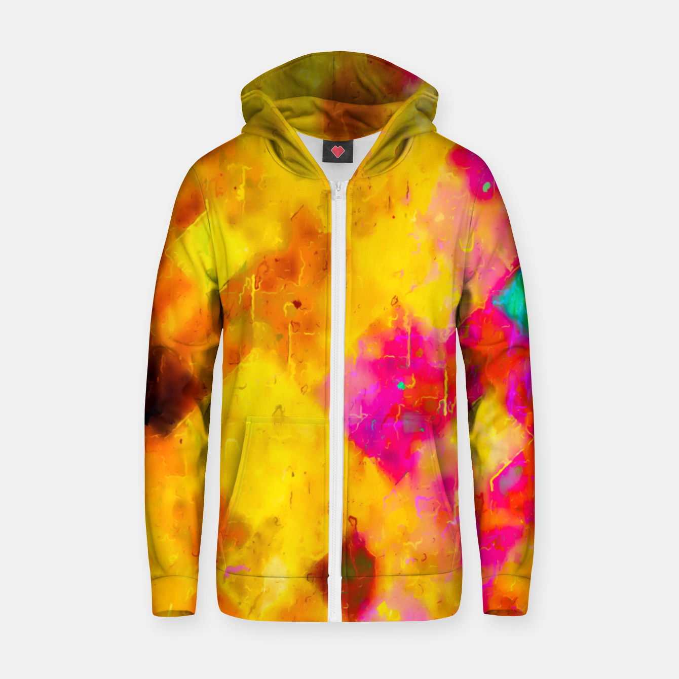 Image of geometric pixel pattern painting abstract in brown yellow pink green Zip up hoodie - Live Heroes