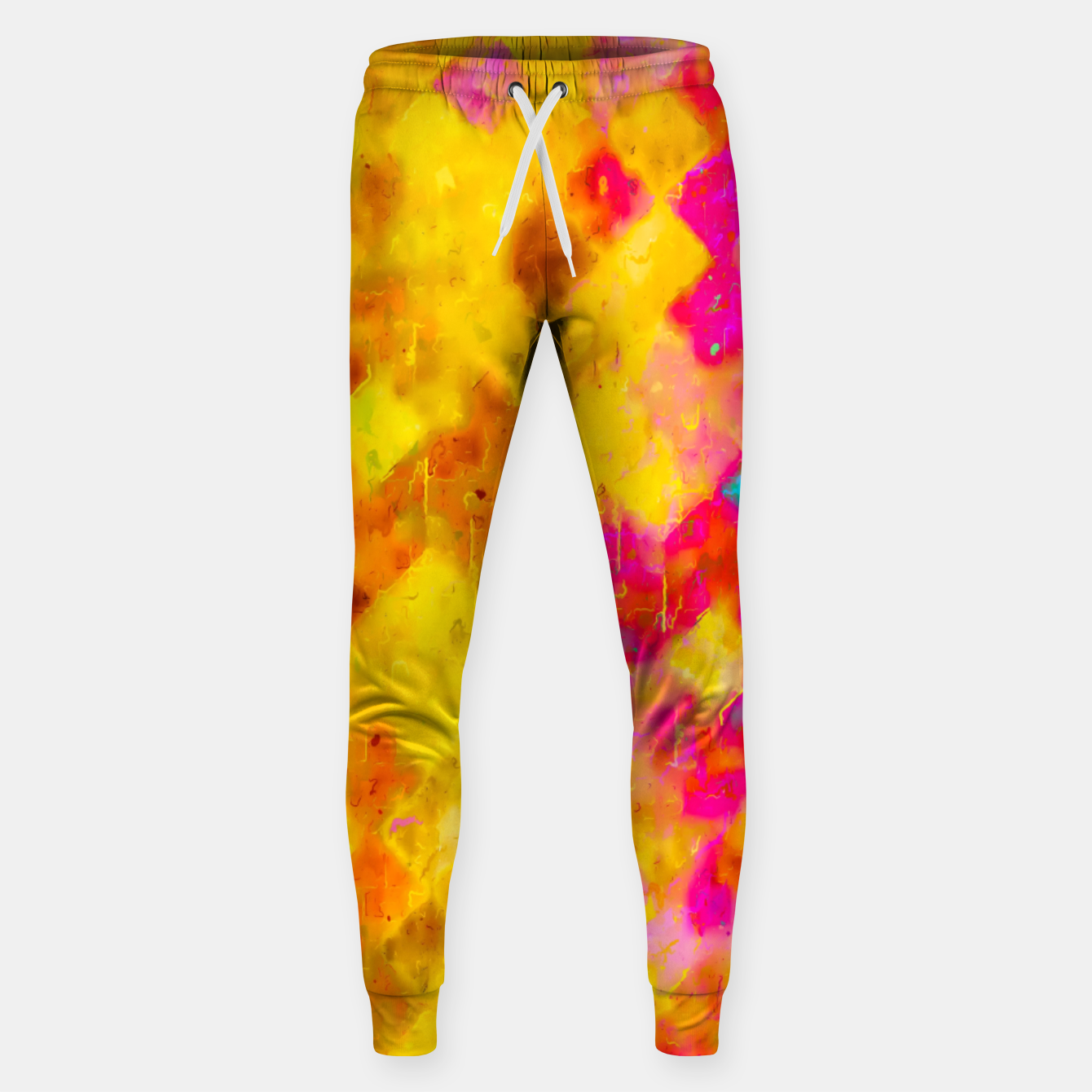Image of geometric pixel pattern painting abstract in brown yellow pink green Sweatpants - Live Heroes