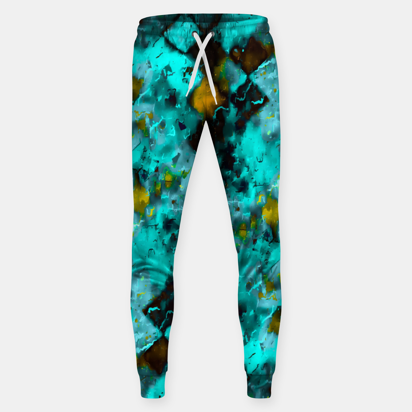 Image of geometric pixel pattern painting abstract in blue and yellow Sweatpants - Live Heroes