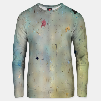 painting texture abstract background in yellow and blue Unisex sweater thumbnail image