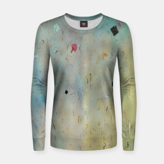 painting texture abstract background in yellow and blue Women sweater thumbnail image