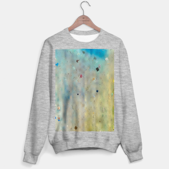 painting texture abstract background in yellow and blue Sweater regular thumbnail image