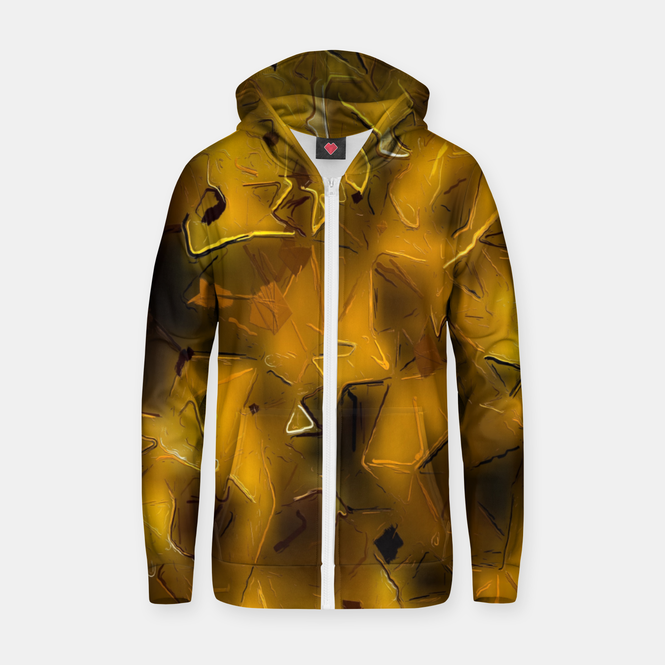 Image of painting texture abstract background in yellow  Zip up hoodie - Live Heroes