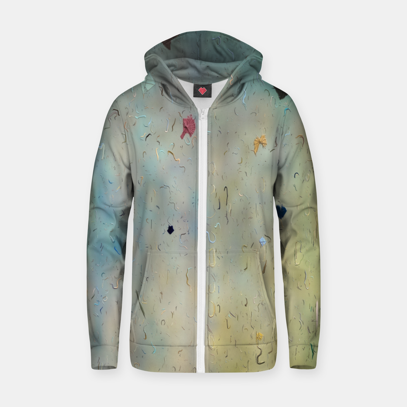 Image of painting texture abstract background in yellow and blue Zip up hoodie - Live Heroes