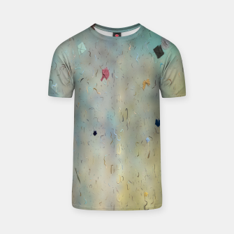 painting texture abstract background in yellow and blue T-shirt thumbnail image