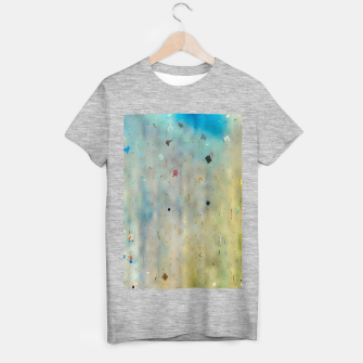 painting texture abstract background in yellow and blue T-shirt regular thumbnail image