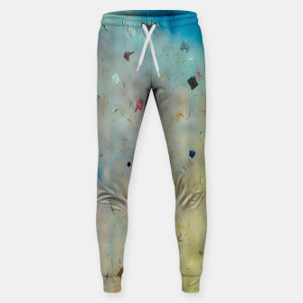 painting texture abstract background in yellow and blue Sweatpants thumbnail image