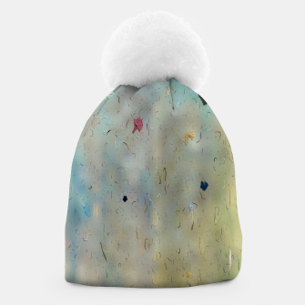 painting texture abstract background in yellow and blue Beanie thumbnail image