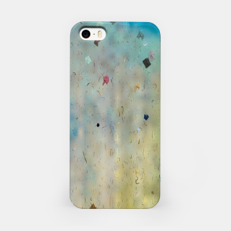 painting texture abstract background in yellow and blue iPhone Case thumbnail image