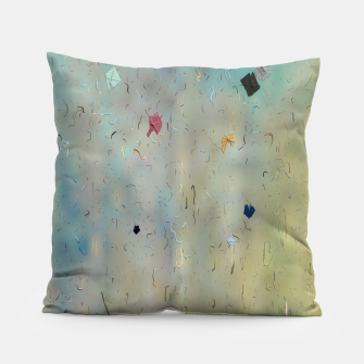 painting texture abstract background in yellow and blue Pillow thumbnail image
