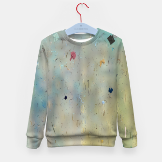 painting texture abstract background in yellow and blue Kid's sweater thumbnail image