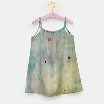 painting texture abstract background in yellow and blue Girl's dress thumbnail image