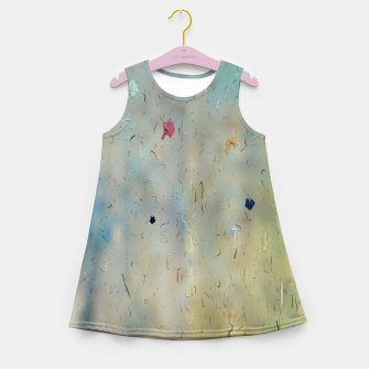 painting texture abstract background in yellow and blue Girl's summer dress thumbnail image