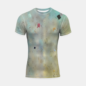 painting texture abstract background in yellow and blue Shortsleeve rashguard thumbnail image