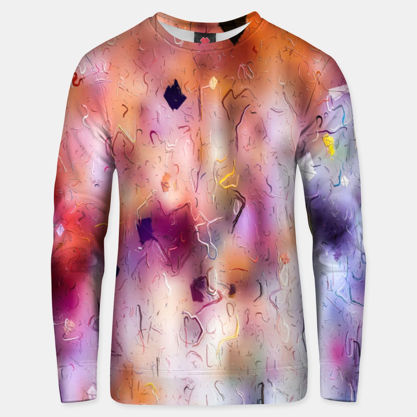 Image of colorful painting texture abstract background in orange purple Unisex sweater - Live Heroes