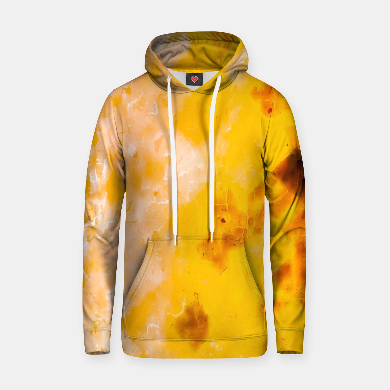 Image of geometric pixel pattern painting abstract in brown and yellow Hoodie - Live Heroes