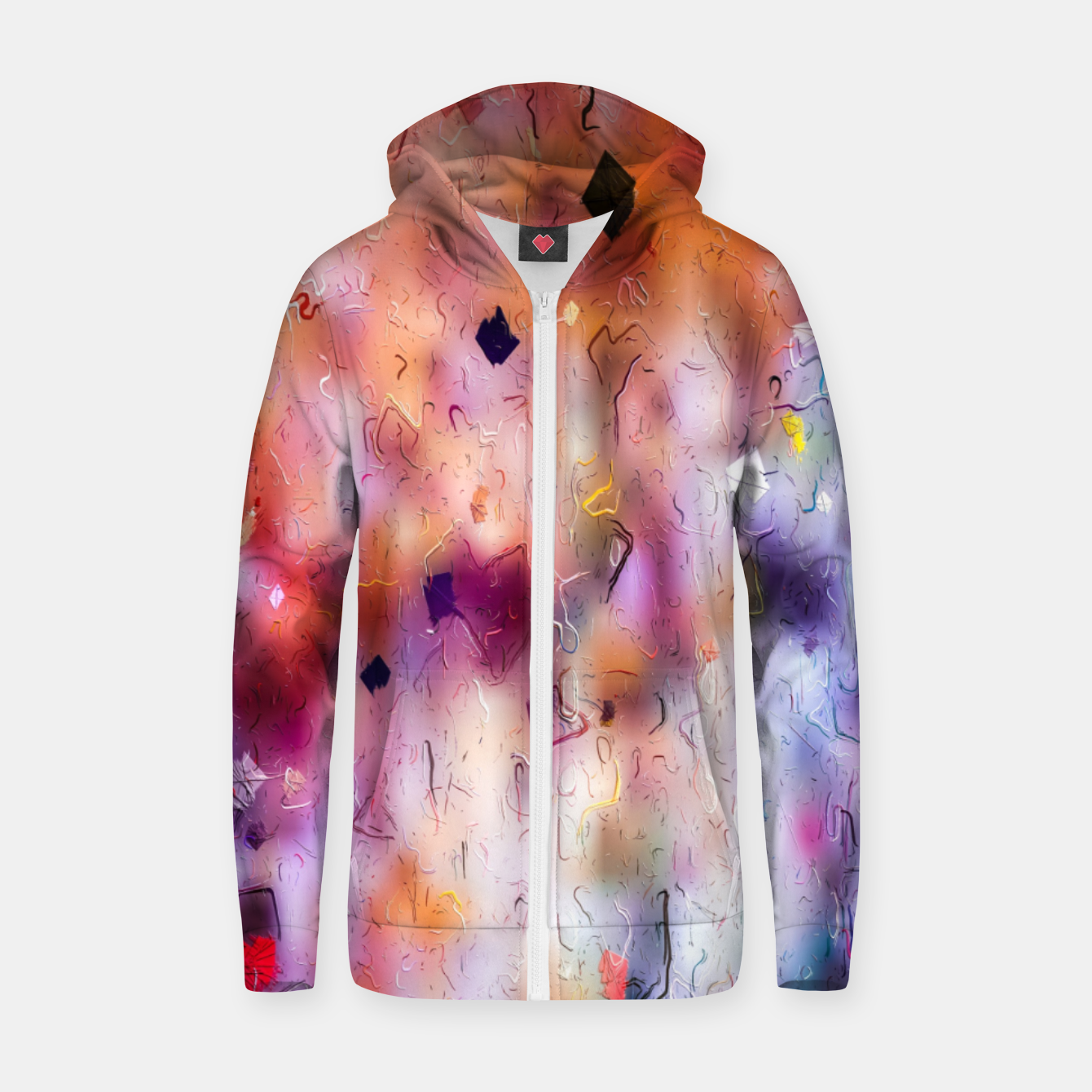Image of colorful painting texture abstract background in orange purple Zip up hoodie - Live Heroes