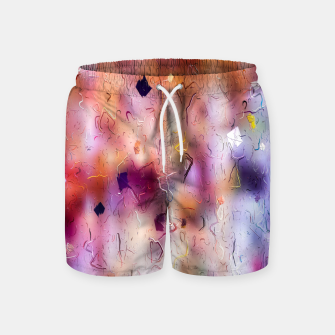 Miniatur colorful painting texture abstract background in orange purple Swim Shorts, Live Heroes