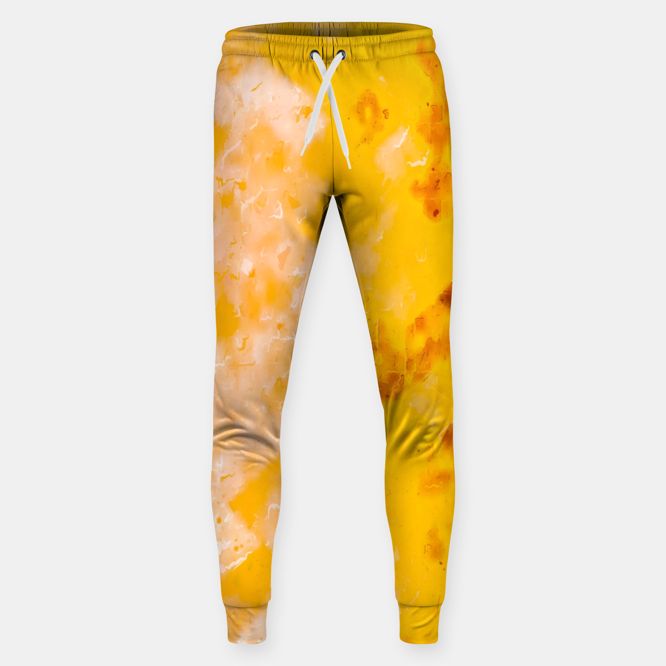 Image of geometric pixel pattern painting abstract in brown and yellow Sweatpants - Live Heroes