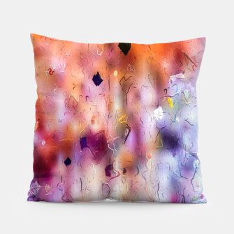 Miniatur colorful painting texture abstract background in orange purple Pillow, Live Heroes
