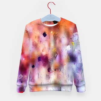 colorful painting texture abstract background in orange purple Kid's sweater thumbnail image