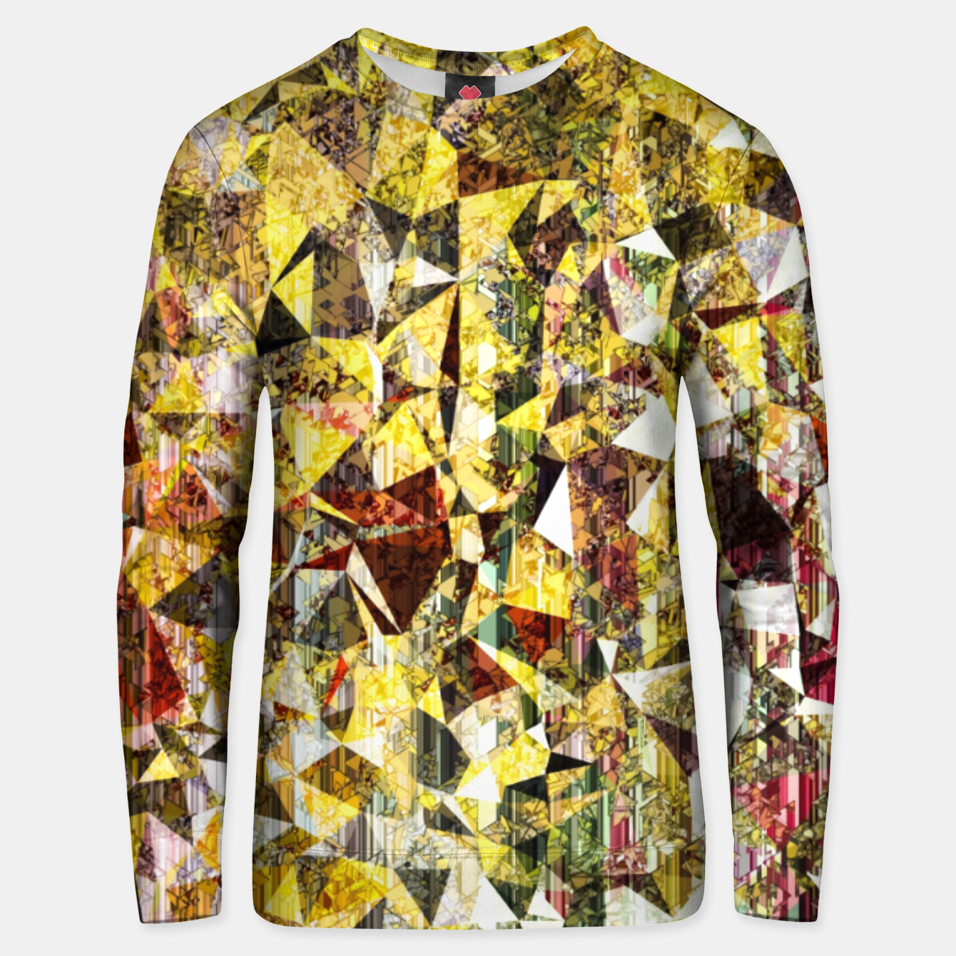 Image of fractal geometric triangle shape abstract art in yellow and red Unisex sweater - Live Heroes