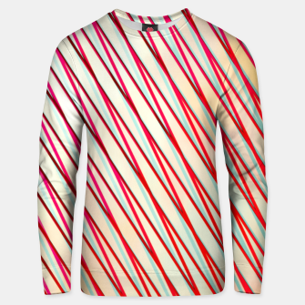 Thumbnail image of geometric line pattern abstract background in pink yellow blue Unisex sweater, Live Heroes