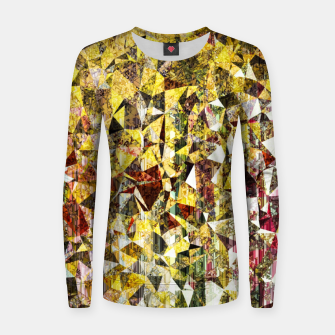 Thumbnail image of fractal geometric triangle shape abstract art in yellow and red Women sweater, Live Heroes