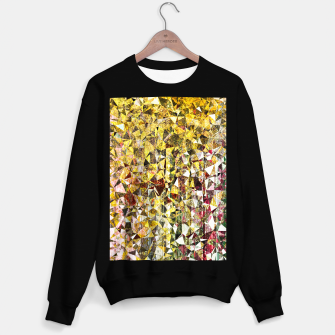 Thumbnail image of fractal geometric triangle shape abstract art in yellow and red Sweater regular, Live Heroes