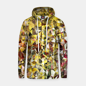 fractal geometric triangle shape abstract art in yellow and red Hoodie thumbnail image
